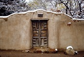 Santa Fe Adobe Wall and Door